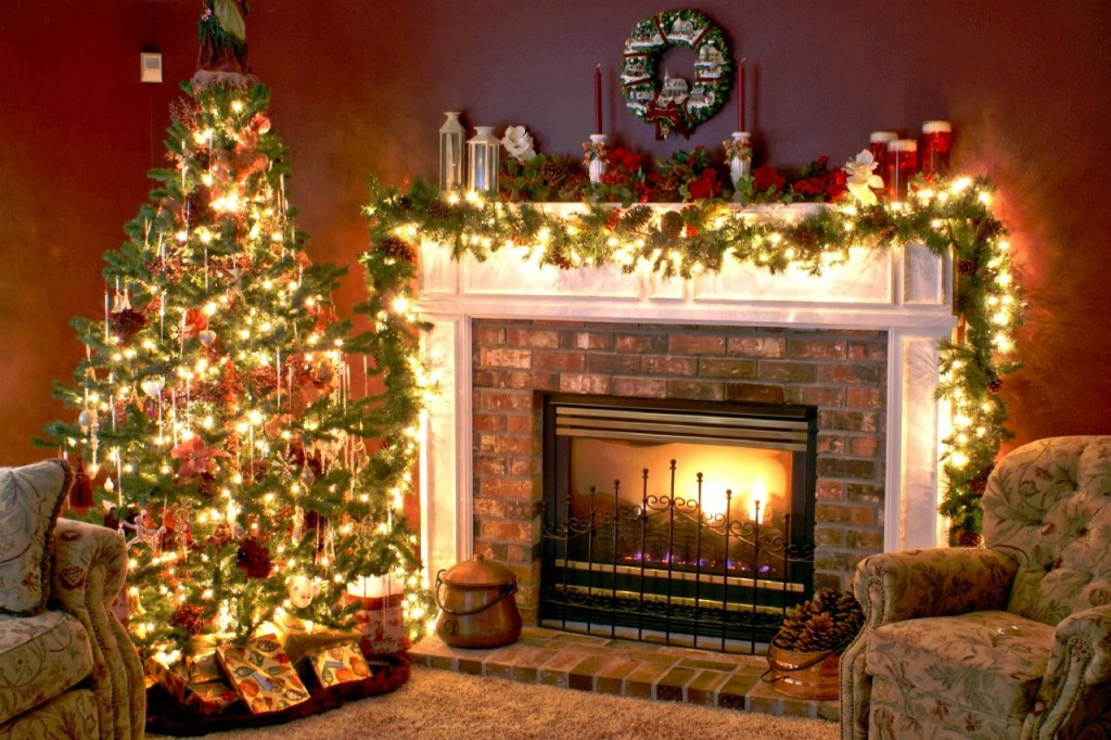 Wintermas Home Decorations and Fireplace